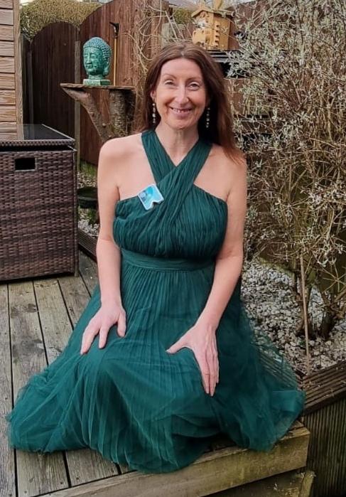 Anita in green dress